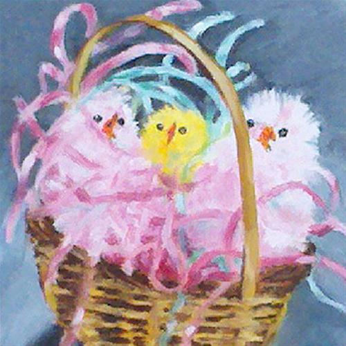 """Easter Chicks"" original fine art by Linda Lowery"