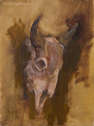 """Bison Skull Study"" original fine art by Kathleen Coy"