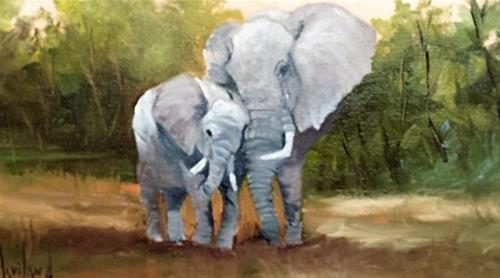 """Mother Love Elephants"" original fine art by Barbara Haviland"