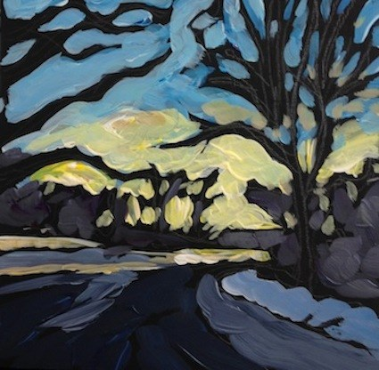 """Cedar Lake, January Morning"" original fine art by Kat Corrigan"