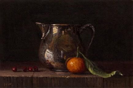 """Still Life with Cranberries, Clementine, & Silver Creamer"" original fine art by Abbey Ryan"