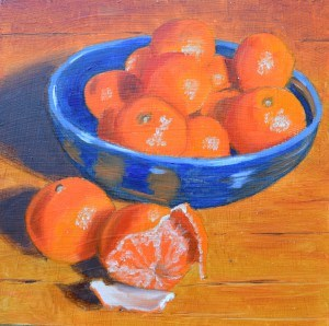"""Bowl of Mandarins"" original fine art by Robert Frankis"