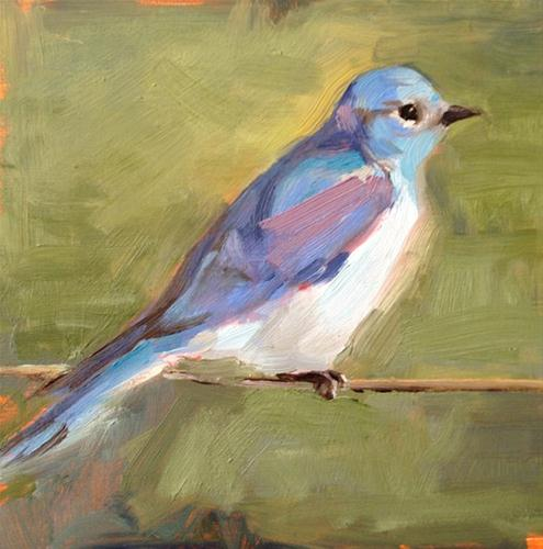 """""""Blue Bird"""" original fine art by Deborah Newman"""