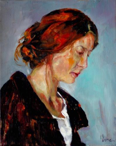 """Enigmatique féminin"" original fine art by Evelyne Heimburger Evhe"