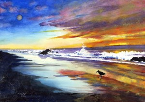"""Beach at Sunset"" original fine art by Mariko Irie"