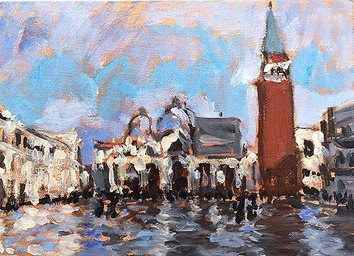 """Acqua Alta, Piazza San Marco"" original fine art by Kevin Inman"