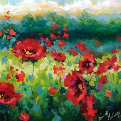 """Rainy Day Poppies Part 2 - Flower Paintings by Nancy Medina"" original fine art by Nancy Medina"