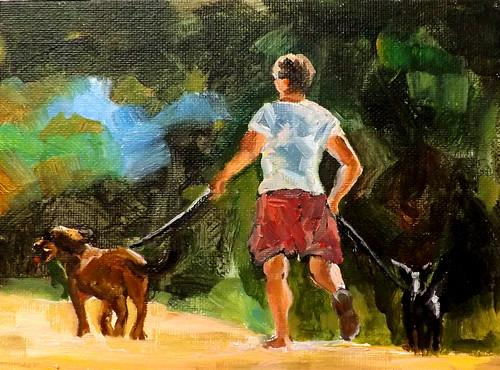 """Lady walking ,m1"" original fine art by Run-      Zhang Zane"