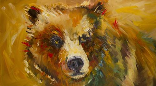 """Warm Bear Oil Painting Diane Whitehead Artoutwest"" original fine art by Diane Whitehead"