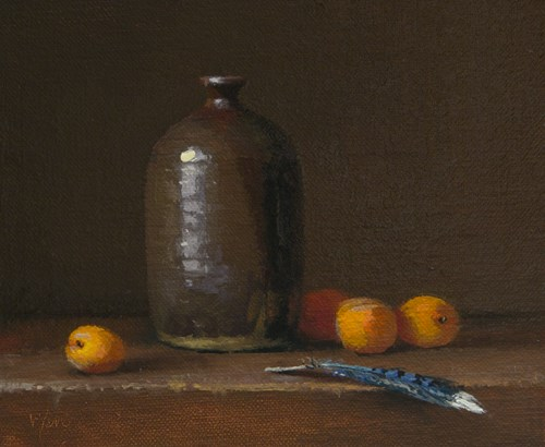 """Still Life with Ike's Handmade Vase, Apricots, and Blue Jay Feather"" original fine art by Abbey Ryan"