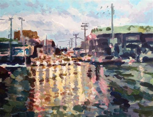 """Reflections on a Rainy Street"" original fine art by Elbagir Osman"