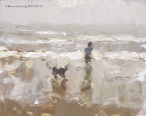 """Seascape spring 31 Boy and dog walking (sold)"" original fine art by Roos Schuring"