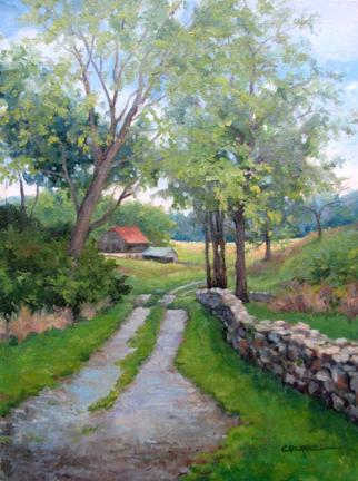 """SHARPSBURG FARM LANE Original Oil Painting by Claire Beadon Carnell"" original fine art by Claire Beadon Carnell"