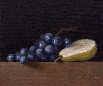 """Still Life with Pear Half and Concord Grapes"" original fine art by Abbey Ryan"