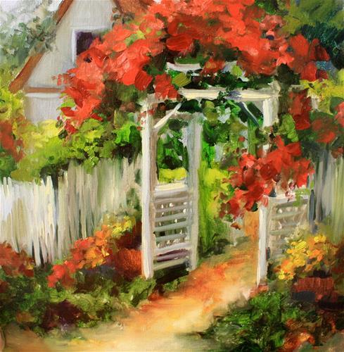 """Sun Swept Cottage Path and a San Diego workshop by Nancy Medina"" original fine art by Nancy Medina"