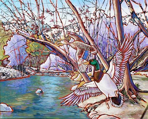 """42 Mallards"" original fine art by Nadi Spencer"