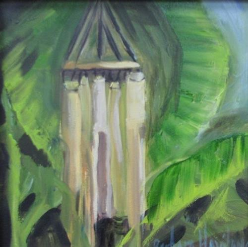 """Windchimes Among the Banana Leaves Plein Air"" original fine art by Barbara Haviland"
