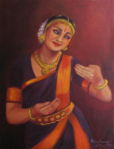 """Indian Bharathanatyam Dancer-2"" original fine art by Asha Shenoy S"