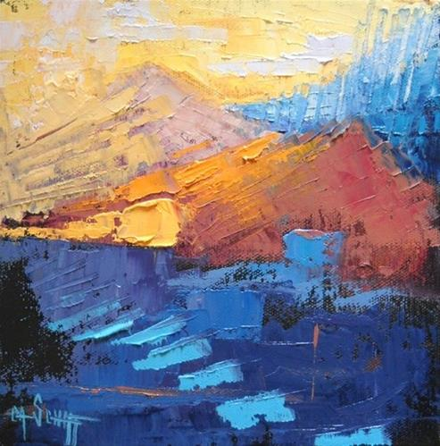 """Abstract Landscape, Daily Painting, Peaks by Carol Schiff, 8x8x1.5 Oil"" original fine art by Carol Schiff"