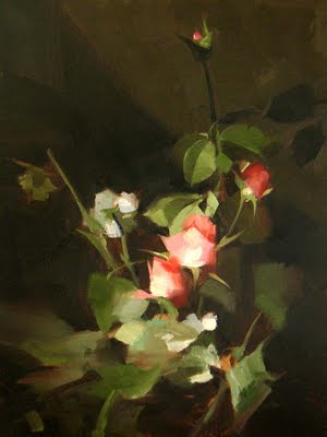 """Sherrie's Roses"" original fine art by Qiang Huang"
