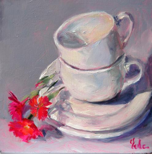 """Les tasses blanches"" original fine art by Evelyne Heimburger Evhe"