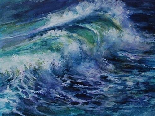 """""""Pacific Surf, 9 x 12 Watercolor, Landscape"""" original fine art by Donna Pierce-Clark"""