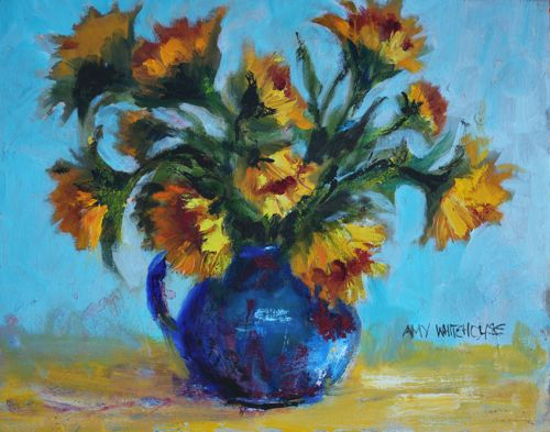 SUNFLOWERS IN BLUE PITCHER, 16x20 Oil original fine art by Amy Whitehouse