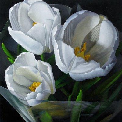 """Tulips 6x6"" original fine art by M Collier"
