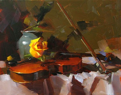 """Yellow Rose and Violin --- Sold"" original fine art by Qiang Huang"