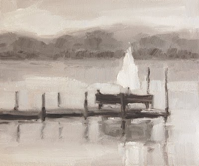 """Dock with Umbrella Value Study"" original fine art by Laurel Daniel"
