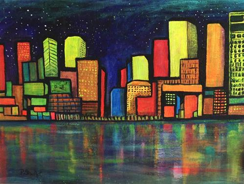 """""""12x16 The Stars at Night, Abstract Night Cityscape Reflections in Water Neon by Penny StewArt"""" original fine art by Penny Lee StewArt"""