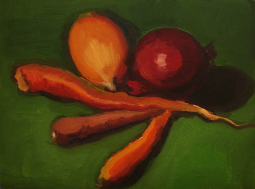 """Farmer's Market Heirloom Carrots"" original fine art by Carol Steinberg"