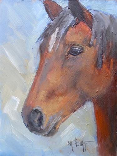"""""""Horse Painting, Daily Painting, Small Oil Painting, Brown Horse by Carol Schiff, 8x6 Oil Painting"""" original fine art by Carol Schiff"""