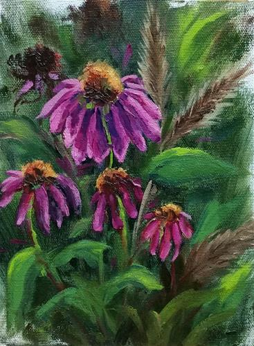 """Shaw coneflowers 2-en plein air"" original fine art by Veronica Brown"