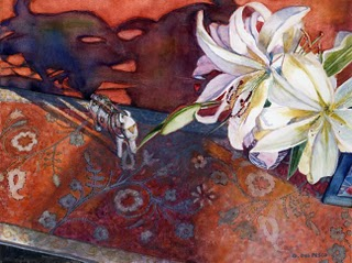 """Watercolor: Tin Horse with Lilies"" original fine art by Belinda Del Pesco"