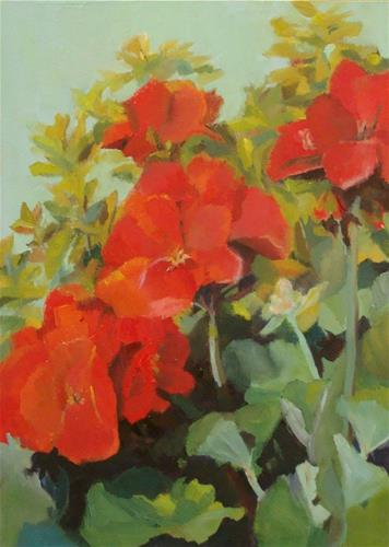 """Morning Geraniums"" original fine art by Rebecca Helton"