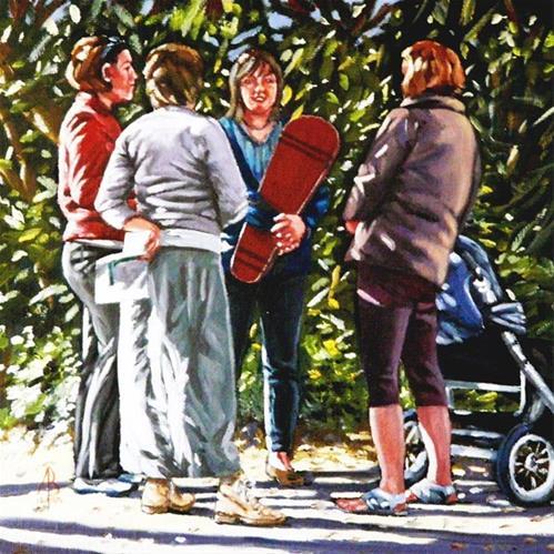 """School run gossip"" original fine art by Alix Baker"