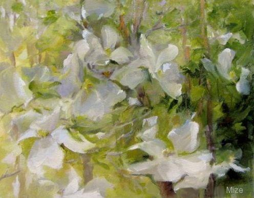 """""""Like White Butterflies"""" original fine art by Dianne Mize"""