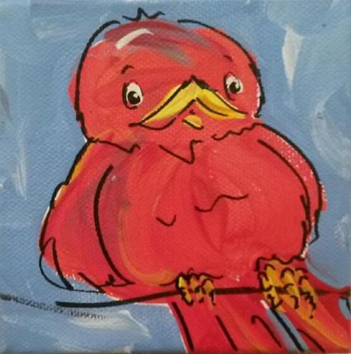 """Chunky Little Redbird"" original fine art by Terri Einer"