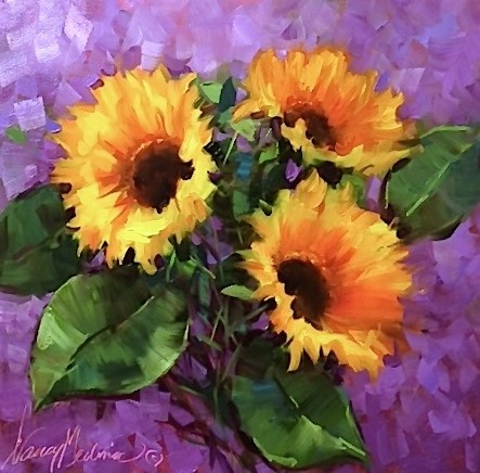 """Take Your Color As Far As You Want It to Go - Hothouse Sunflowers - Flower Paintings by Nancy Medina"" original fine art by Nancy Medina"