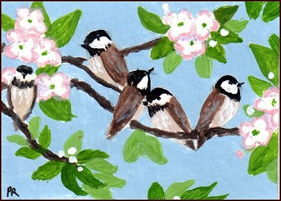 """Happy Chickadees"" original fine art by Patricia Ann Rizzo"