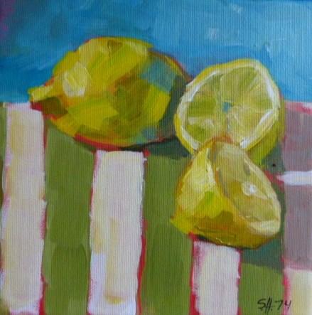 """""""Zitronen auf Küchenhandtuch2"""" original fine art by Sabine Hüning"""
