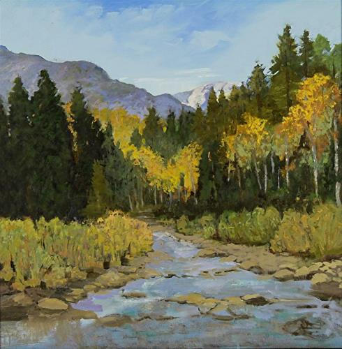 """Colorado Landscape Oil Painting Angel Creek in Autumn by Colorado Landscape Artist Susan Fowler"" original fine art by Susan Fowler"