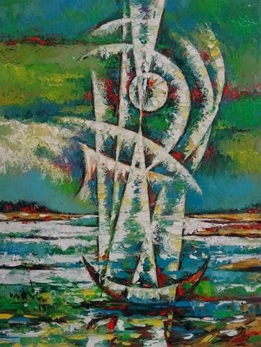"""River in the moonlight"" original fine art by Duc Tran"