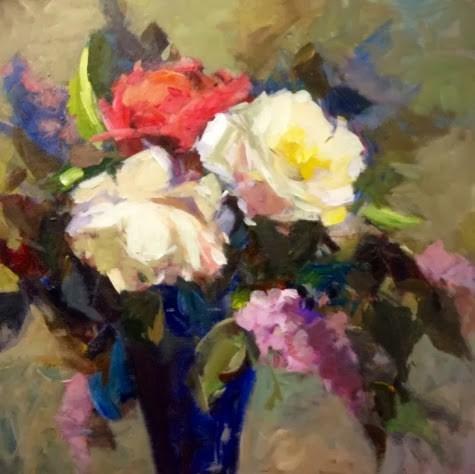 """roses and lilacs"" original fine art by Parastoo Ganjei"