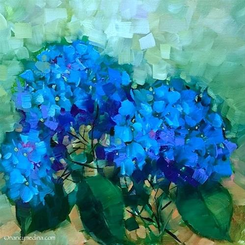 """Paint the Town Blue Hydrangeas - Nancy Medina Art Classes and DVDs"" original fine art by Nancy Medina"