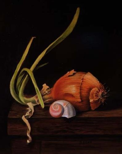 """Moon Shell with Onion"" original fine art by Sharon Egan"
