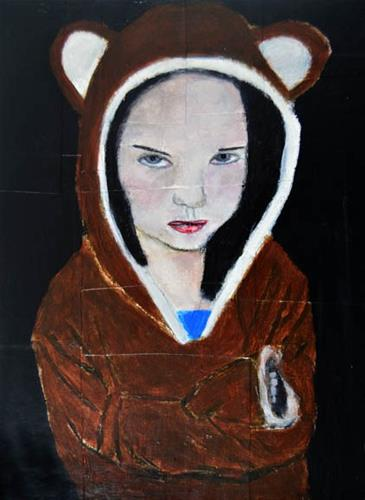 """""""Stubborn Little Bear No 2"""" original fine art by Katie Jeanne Wood"""
