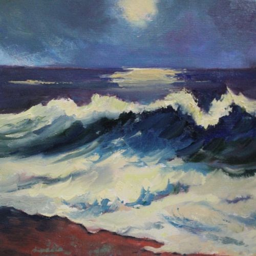 """Moonlight Waves Night Scene Seascape by Arizona Artist Amy Whitehouse"" original fine art by Amy Whitehouse"