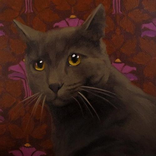 """""""Yellow Eyed Cat small realistic oil painting"""" original fine art by Diane Hoeptner"""